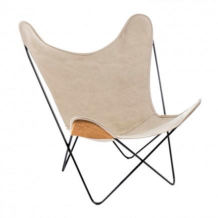 Manufaktur Plus Hardoy Butterfly Chair Leinen Sessel 371_HBC_LEINEN