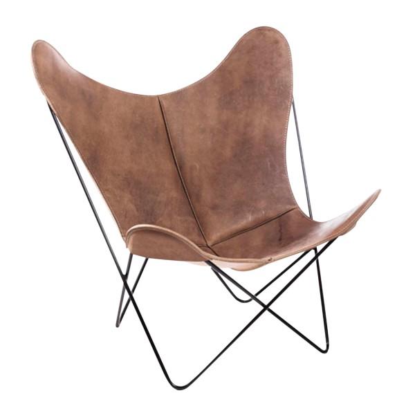 Manufaktur Plus Hardoy Butterfly Chair Vintage-Leder Sessel 371_HBC_VINTAGE