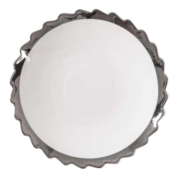 DIESEL LIVING with SELETTI Dessert Plate Silver Edge Dessertteller 381_1098XSIL