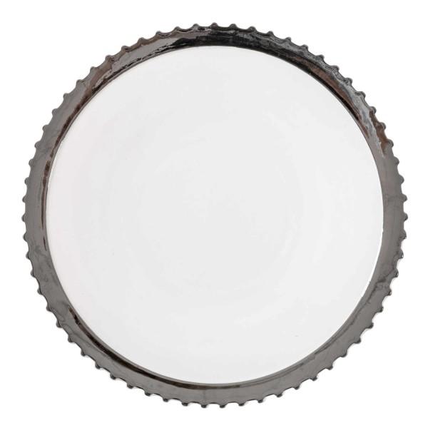 DIESEL LIVING with SELETTI Dinner Plate Silver Edge Teller 381_1099XSIL