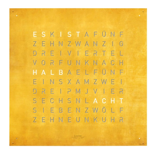 Biegert and Funk QLOCKTWO 180 Creators Edition Gold Wanduhr 83_180-CE-GO